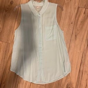 Teal old navy sheer button up tank